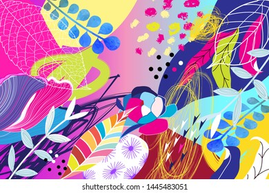 Tropical multicolored trendy pattern of foliage spots and flowers. Art print design template for web page, fabric, wallpaper or poster.