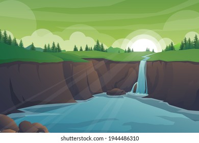 Tropical natural scenery with cascade of rocks, Waterfall cliff jungle landscape, river streams of water flowing, green exotic woods with wild nature and bush foliage background  vector illustration.
