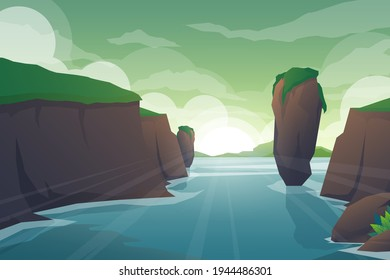 Tropical natural scenery with river through of rocks, cliff jungle landscape, river streams of water flowing, green exotic woods with wild nature and bush foliage background  vector illustration