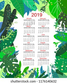 Tropical nature calendar 2019, vector graphic illustration