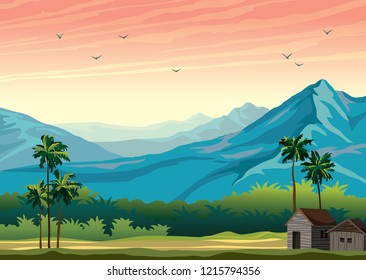 Tropical nature landscape with palm tree, hut and blue mountains on a sunset sky background. Vector summer illustration.