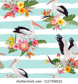 Tropical Nature Seamless Pattern with Pelicans and Flowers. Floral Background with Waterbirds for Fabric, Textile, Wallpaper. Vector illustration