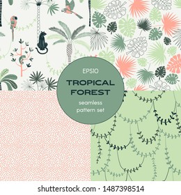 Tropical nature seamless pattern set. Animals and plants. Jungle parrots. Pink dots, liana and monstera leaves backgrounds pack. Decorative textile, wallpaper, wrapping paper vector design