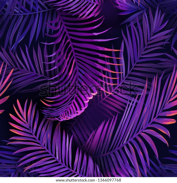 Tropical Neon Palm Leaves Seamless Pattern Stock Vector Royalty Free 1366097768 Tropical nature neon digital illustration. shutterstock