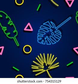 Tropical neon seamless pattern. Neon light banner. Fashion print for design.