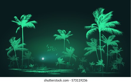 Tropical night landscape with palm trees