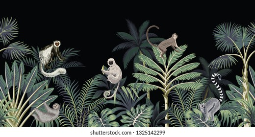 Tropical night vintage floral palm tree, banana tree, plants, wild animals monkey, sloth, lemur seamless border black background. Exotic dark jungle wallpaper.