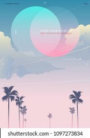 Tropical nostalgia sky background graphic template