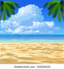 tropical ocean beach with sand and palm trees vector illustration