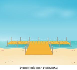 Tropical ocean landscape with wooden dock vector
