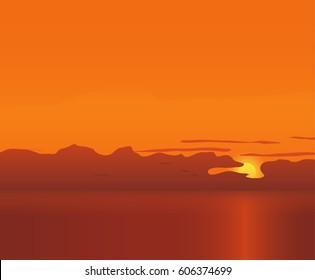 Tropical ocean sunsen vector background