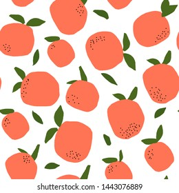 Tropical Orange Fruit Seamless Pattern. Vector illustration. Hand Drawn Fruit Repeated Background.  Hand Drawn Fruit for Fabric, Textile, Wallpaper.