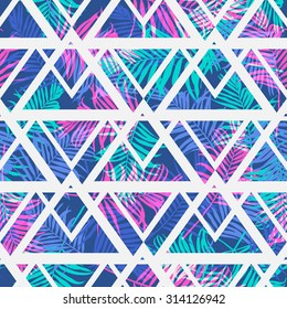 Tropical palm leaf pattern with geometric background.Vector fashion seamless creative art print for design . Neon colored jungle wallpaper.