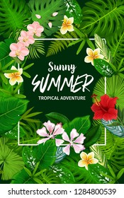 Tropical palm leaf poster with exotic flower, summer vacation or travel themes design. Jungle tree and plant green foliage frame, adorned by orchid, hibiscus and plumeria, beach party invitation