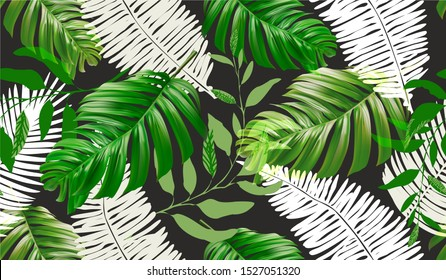 Tropical palm leaves background. Seamless vector pattern with jungle leave in trendy style.