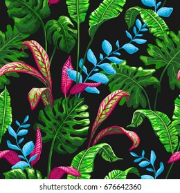 Tropical palm leaves background. Seamless vector pattern with jungle leaves in trendy style.