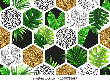 Tropical palm leaves background in trendy style. Seamless vector pattern with exotic jungle leaves, geometric elements and gold glitter.