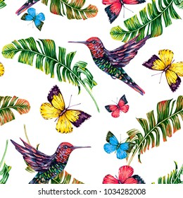 Tropical palm leaves, banana jungle leaf, hummingbirds, butterflies flying seamless vector floral pattern background. Summer colorful butterfly, colibri bird illustration