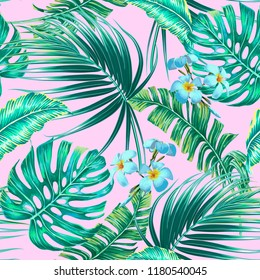 Tropical palm leaves, exotic flowers, monstera, jungle banana leaf vector seamless floral pattern background. Beautiful botanical wallpaper illustration