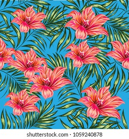 Tropical palm leaves, flowers and jungle . Vector floral pattern background.