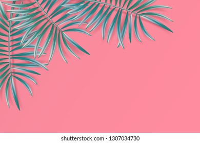 Tropical palm leaves frame on coral backdrop. Summer emerald tropical leaf. Exotic hawaiian jungle, summertime background. Pastel art colorful minimal style, Paper cut