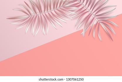 Tropical palm leaves frame on coral backdrop. Summer tropical leaf. Exotic hawaiian jungle, summertime background. Pastel monochrome art colorful minimal style, Paper cut