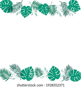 Tropical palm leaves illustration background