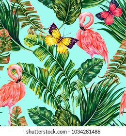 Tropical palm leaves, jungle banana leaf, pink flamingos, exotic birds, butterflies floral seamless vector pattern background. Summer flamingo bird, butterfly illustration