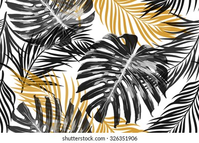 Tropical palm leaves, jungle leaves. Beautiful seamless vector fashionable chic abstract tropical floral pattern background
