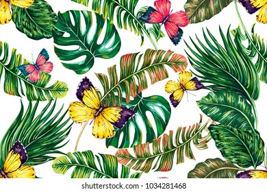 Tropical palm leaves, jungle leaf, monstera, butterflies flying seamless vector floral pattern background. Summer butterfly, green foliage illustration