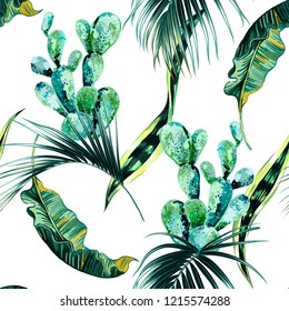 Tropical palm leaves, jungle leaf, cactus floral vector seamless pattern background
