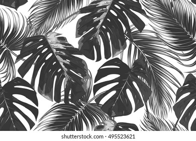 Tropical palm leaves, jungle leaf seamless vector floral pattern background