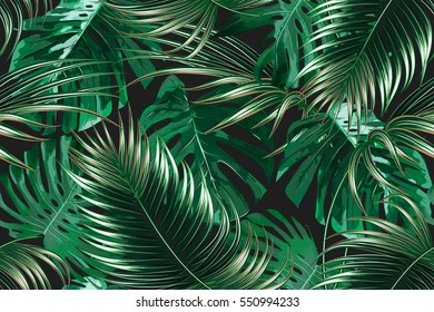 Folhas de palmeiras tropicais, folha de selva sem costura padrão floral fundo
