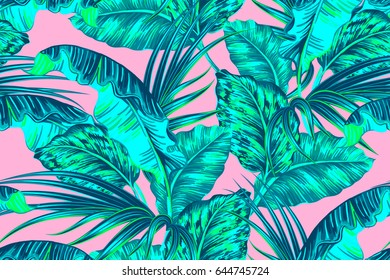 Tropical palm leaves, jungle leaf seamless vector trendy floral pattern on pink background. Summer design for fashion, prints, textile. Exotic wallpaper