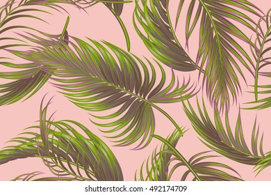 Tropical palm leaves, jungle seamless vector floral pattern background, exotic print
