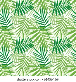Tropical palm leaves, jungle leaves seamless vector floral pattern. Seamless exotic background with tropical leaves. Vector illustration.