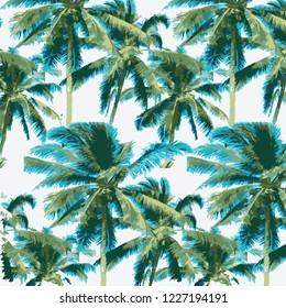 Tropical palm leaves, jungle leaves vector floral pattern background.