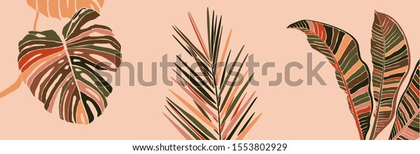 Tropical Palm Leaves Minimalist Trendy Style Stock Vector Royalty Free 1553802929 Blue, red, and pink swiss cheese leaves print textile. shutterstock