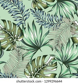 Tropical palm leaves, mint green background. Vector seamless pattern. Jungle foliage illustration. Exotic plants. Summer beach floral design. Paradise nature