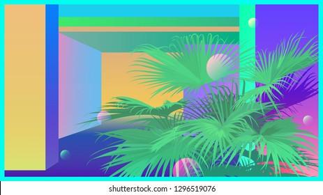 Tropical palm leaves and neon wall nostalgic retro - vaporwave illustration background