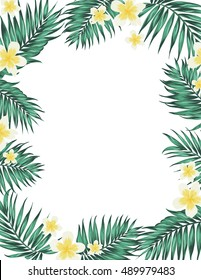 Tropical palm leaves and plumeria flowers. Rectangular border frame element. Card template. White background.