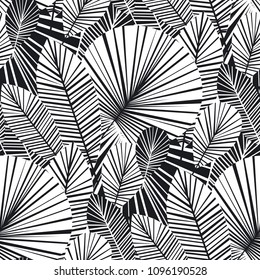 Tropical palm leaves seamless pattern for background, wrapping paper, fabric. Modern botanical endless repeatable motif for surface design. stock vector illustration