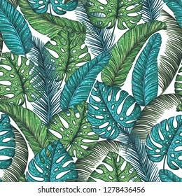 Tropical palm leaves seamless pattern. Vector illustration leaves of palm. Jungle pattern. Print on cloth template. Beautiful design for textiles.