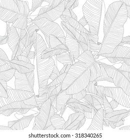 tropical palm leaves seamless pattern, trendy fabric black and white design
