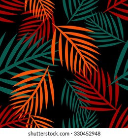Tropical palm leaves seamless pattern in orange and blue colors