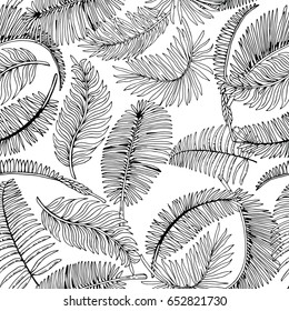Tropical Palm Leaves Seamless Pattern. Exotic Jungle Background. Hand Drawn Black and White illustration.
