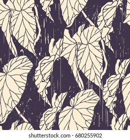 Tropical palm leaves seamless pattern. Floral vector background