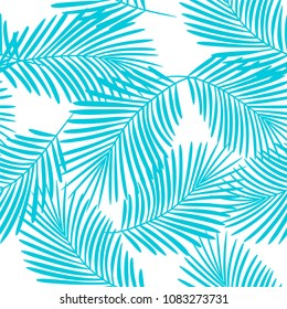 Tropical palm leaves seamless vector floral jungle pattern background. Exotic plant illustration. Summer nature print. Leaves of palm tree.
