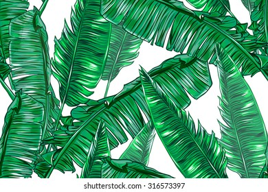 Tropical palm leaves seamless vector jungle floral pattern background, wallpaper