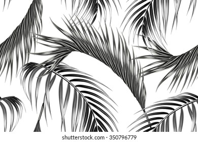 Tropical palm leaves seamless vector floral jungle pattern background